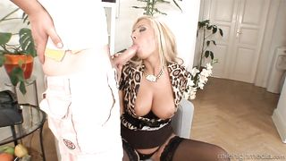 A blonde pervert mom with stockings is opening up her cunt and she is rammed