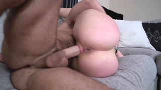 Her tanned booty jiggles as she rides him hard