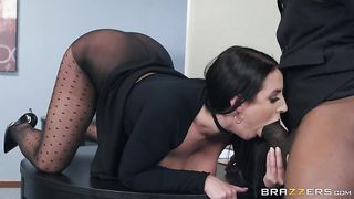 Giving his insanely enormous, black cock an amazing titty fuck