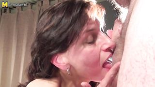 Mom sucks off son like a whore then swallows his big load of cum