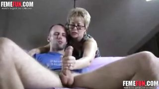[ Mom Helps Son Masturbate ] Mother helps son for jacking off when he is playing with his dick