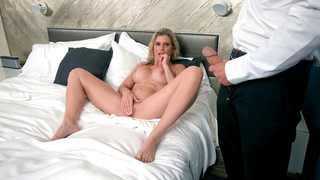 Sexy mom masturbates before fucking her son and gets orally cumshot