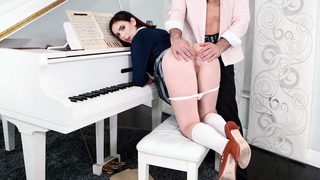 My piano teacher is a pervert, he makes me suck his dick and cums in me every single time when we study