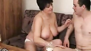 [ Drunk mom fucks son ]  by riding his erect cock until warm load on her face
