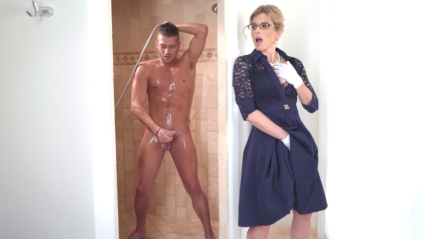 mom watches son jerk off his long dick before she joins in