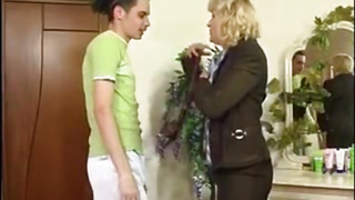 Mom strips for son in sensual foreplay before spreading legs for his dick