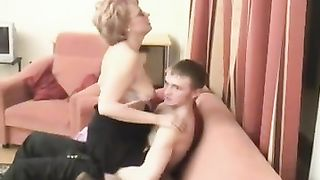 Mom gives son blowjob like the ultimate whore and swallows in the end