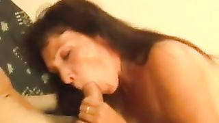 Mom sucks son cock with passion and doesn't stop until swallowing big time