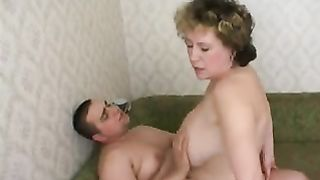 Mom jerks son in his bedroom and after takes his virginity away from him