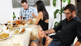 Thanksgiving sneaky threesome with his girlfriend and stepmom!