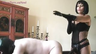 [ Amateur strapon wife ] Submissive slave pegged deep and hard