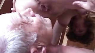 Dude feasts on his wife's pussy after getting a creampie from a black dude