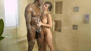 Horny Interracial couple gets it on real quick after taking a shower