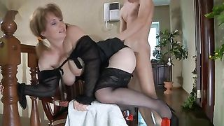 Mother in black stockings gets asshole banged in a real mom and son incest movie