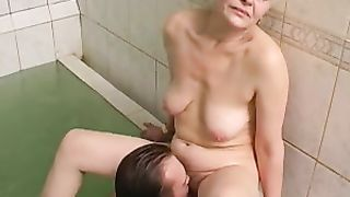Aged mom blows her son in a pool and gets banged in real mom and son incest porn