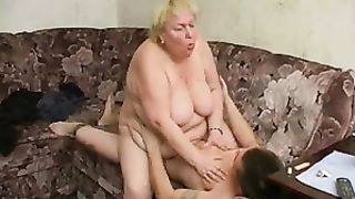 Thick Russian slut blows and rides a cock in a real mom and son incest action