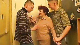 Redhead mom makes her son and his friend enjoy real mom and son incest fucking