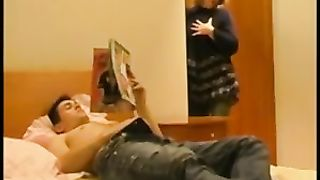 Mom comes into the son's room for a quick fuck in a real mom xxx incest video