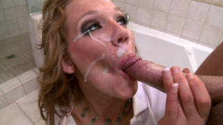 Finishing him off with a blowjob that gets him cumming all over her lovely face