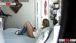 Hidden Cam XXX - Caught daughter with mom's vibrator on our bed.