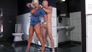 Pretty blonde milks his shaft with everything she's got so she can taste his cum