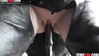 Night video of a wife getting fucked good by a horse in the barn
