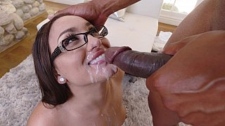 Stunningly gorgeous brunette indulges herself with his big, juicy cock