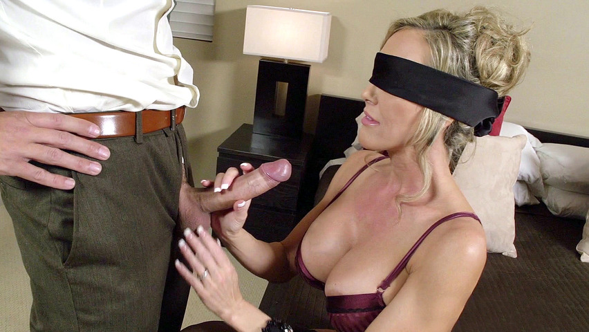 Blindfolded partner gets switched out by her hubby