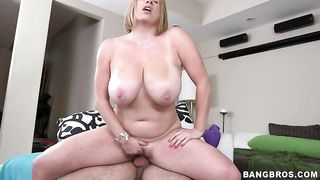 BBW blows her husband for a lengthy session of sex