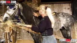 Busty mature whore gets addicted to zoophilia enjoying sex with a big stallion