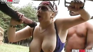 Busty woman having sex with a horse on a lawn deepthroating its cock like insane