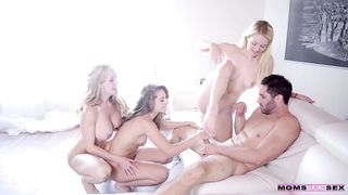 Frisky mom helps her son fuck two sexy girls in a wild foursome scene in a mom teaching sex vid