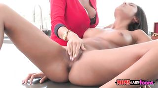 Elegant mom licks pussy of her steaming hot daughter in the kitchen enjoying lesbian incest