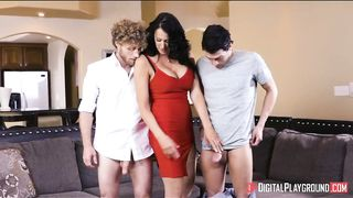Spunky naked girl fucked by two guys at the same time