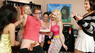 Dorm sluts gang up on nerdy naked girl and suck and fuck his big juicy cock!