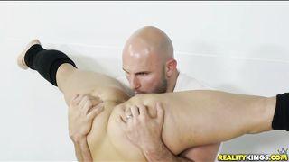 Naked Gymnast Girl Bobbing Up And Down A Big Cock