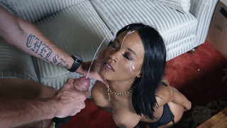 Busty beauty keeps the blowjob sexy even after he cums in her mouth