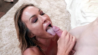 Real boy fucks incest mom in spoons and cums on face after blowjob