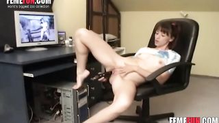 Hot girl plays a solo drilling her starving pussy with a black dildo dong in a hot porn video
