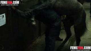 Wild wife gets banged really brutally by a horse in a night video of hardcore beastiality
