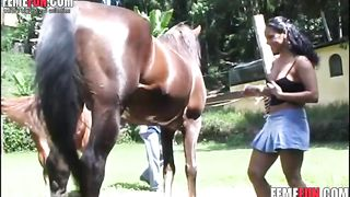 Mouthwatering Latina whore bends over to get her holes banged and creampied by a horse