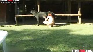 Small-tittied redhead chick deepthroats a pony's cock and rubs her firm tits outdoors
