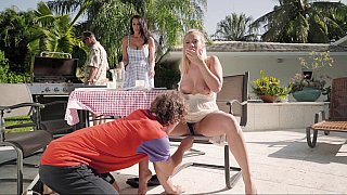 Two sisters go naughty wiht their nerdy stepbrother fucking with him really hard outdoors