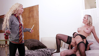 Blonde daughter wants handsome male to fuck her and mom together