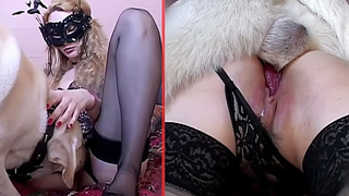Masked lady and amateur white dog experience hot XXX fuck together