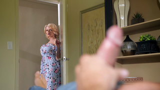 Blonde mom flirts with son near hubby hoping to tempt him into incest