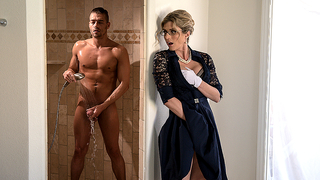 Strict mom spies on son in shower and joins for incest fun together