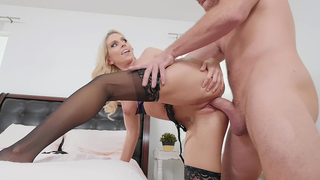 Light-haired mom in stockings takes incest guy's cock from behind