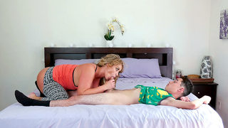 Gorgeous mom relaxes creepy son with incest cock sucking in bedroom