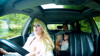 Busty mom dreams about incest while horny teens have fun in backseat